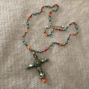 "Jewelry - Boho Wire Wrapped Cross Necklace 22"" plus extender"